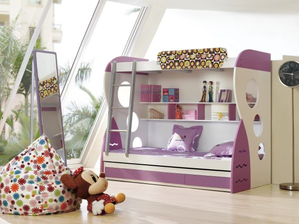 White-and-purple-bunk-bed-for-girls-bedroom