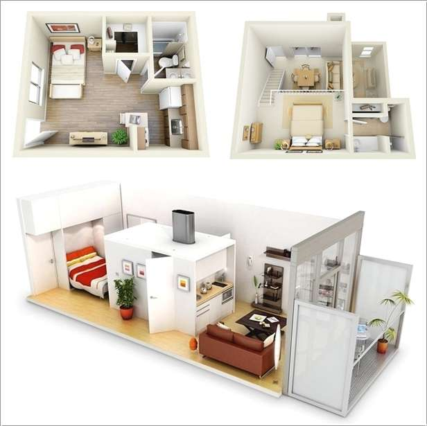 10 ideas for one bedroom apartment floor plans - Interior design for small space house plan ...