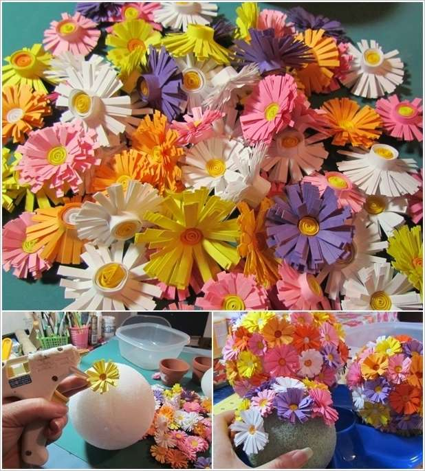 Paper quilling flowers ball flowers healthy paper quilling flower pendant paper quilled craft for beginners mightylinksfo