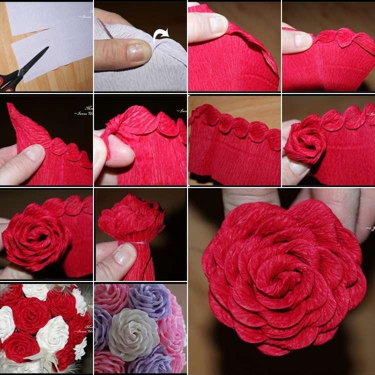 Роз из гофрированной бумаги своими руками пошаговое фото
