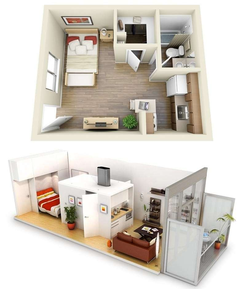 10 ideas for one bedroom apartment floor plans for Small 1 room flat