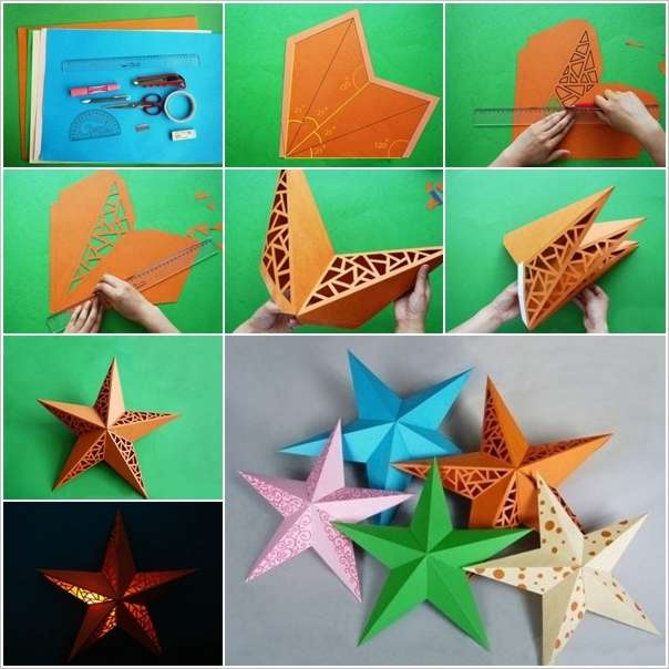 Amazing 3d paper star wall lamp idea for How to make paper lamp step by step