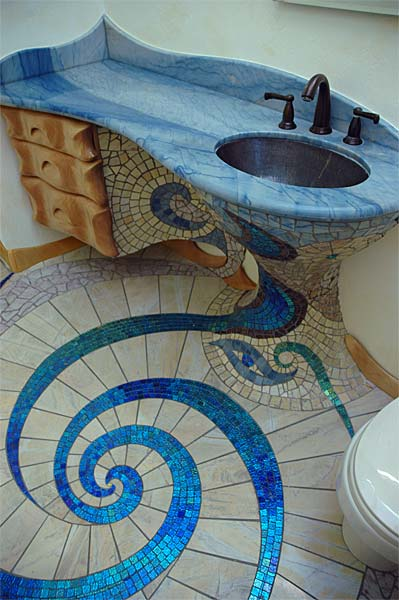 Creative mosaic bathroom design for Bathroom mosaic design