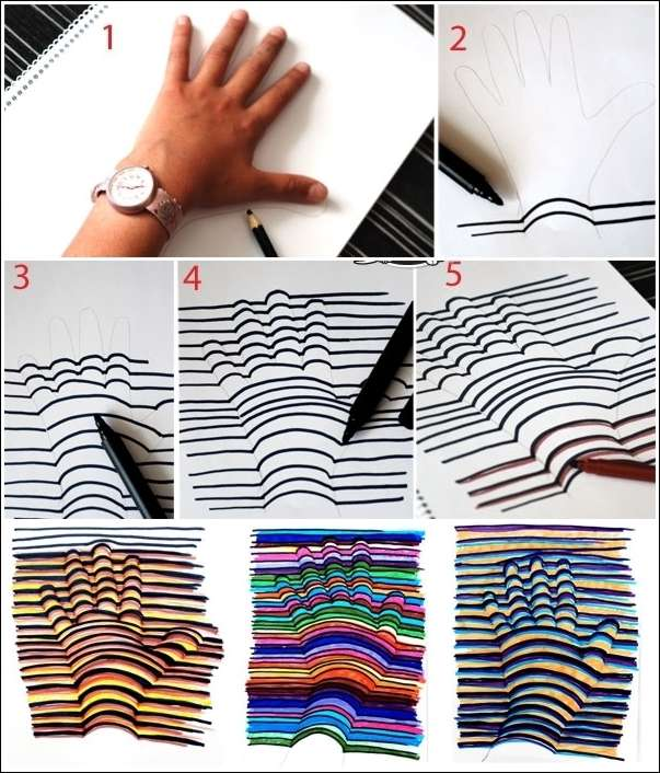 This 3d hand drawing is so cool and easy peasy for Cool things to make with paper for your room
