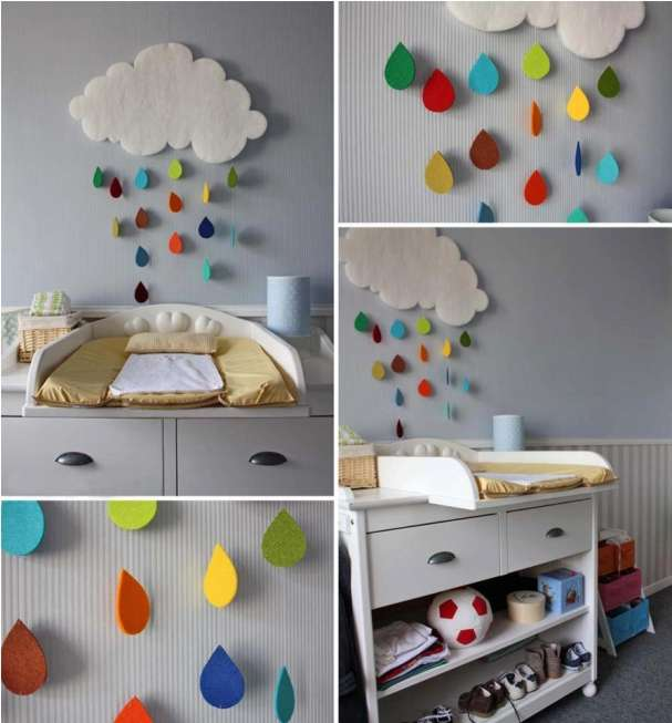 diy cloud wall decorating for a child s room. Black Bedroom Furniture Sets. Home Design Ideas