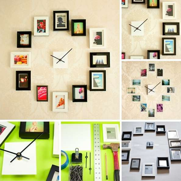 This diy photo wall clock is a great idea for family photos for Living room decorating ideas picture frames