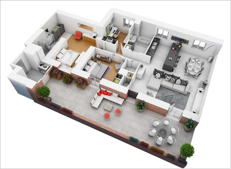 10. A Two Bedroom Plan With A Large Outdoor Area