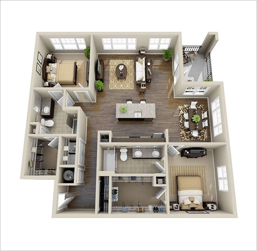 10 awesome two bedroom apartment 3d floor plans for 3 bedroom 2 bath garage apartment plans