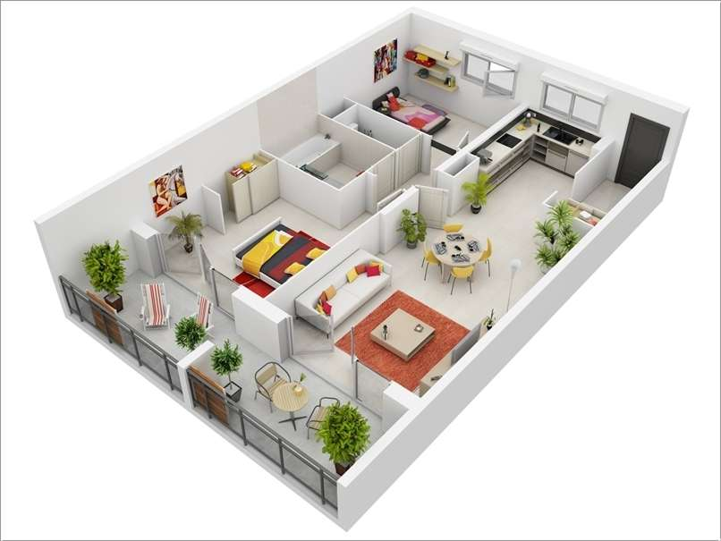 10 awesome two bedroom apartment 3d floor plans for One floor house design plans 3d