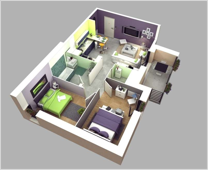 10 Awesome Two Bedroom Apartment 3D Floor Plans