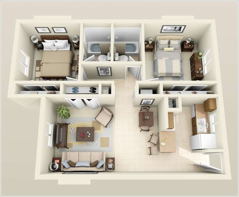 Wonderful Two Bedroom Apartment Plan #10: 4. Two Bedroom Apartment With 3 Closets
