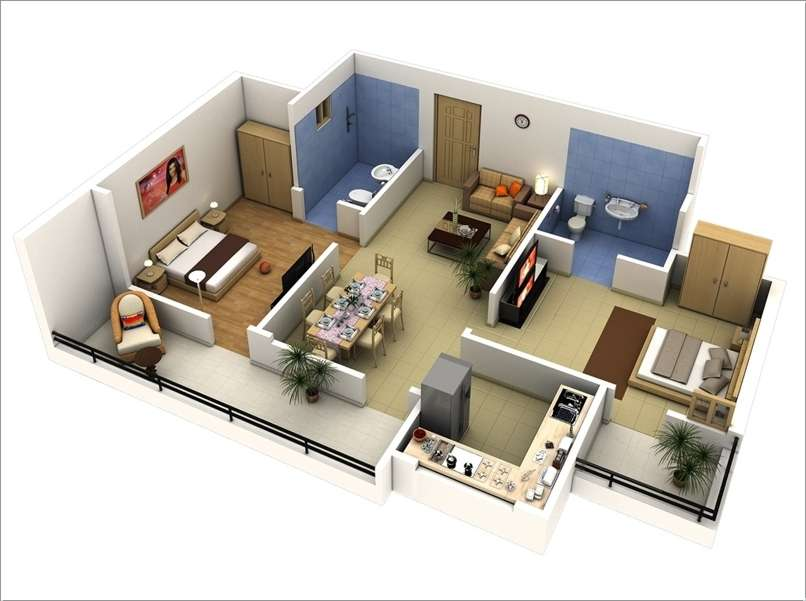 10 awesome two bedroom apartment 3d floor plans for Home plans 3d designs