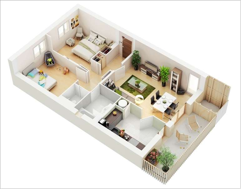 10 awesome two bedroom apartment 3d floor plans for 3d bedroom planner