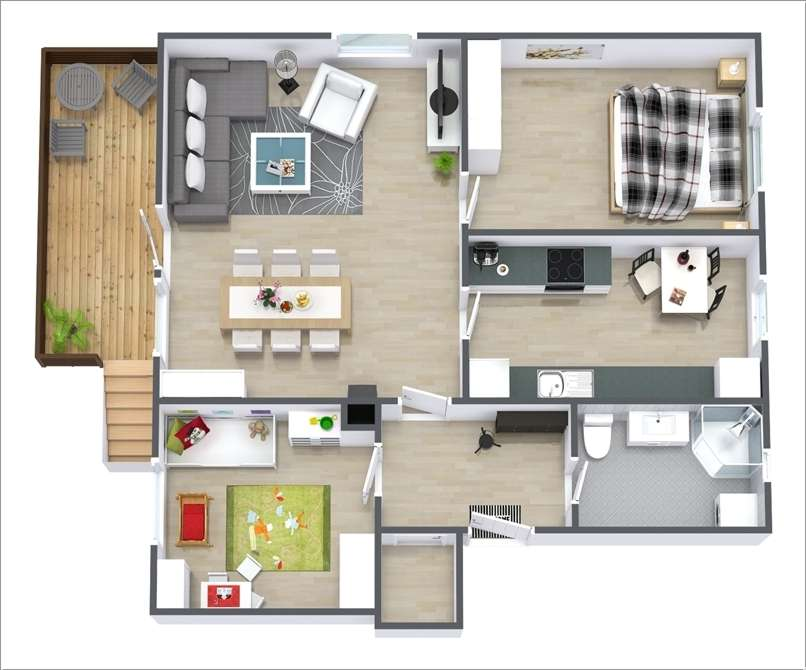 10 awesome two bedroom apartment 3d floor plans for Simple apartment plans