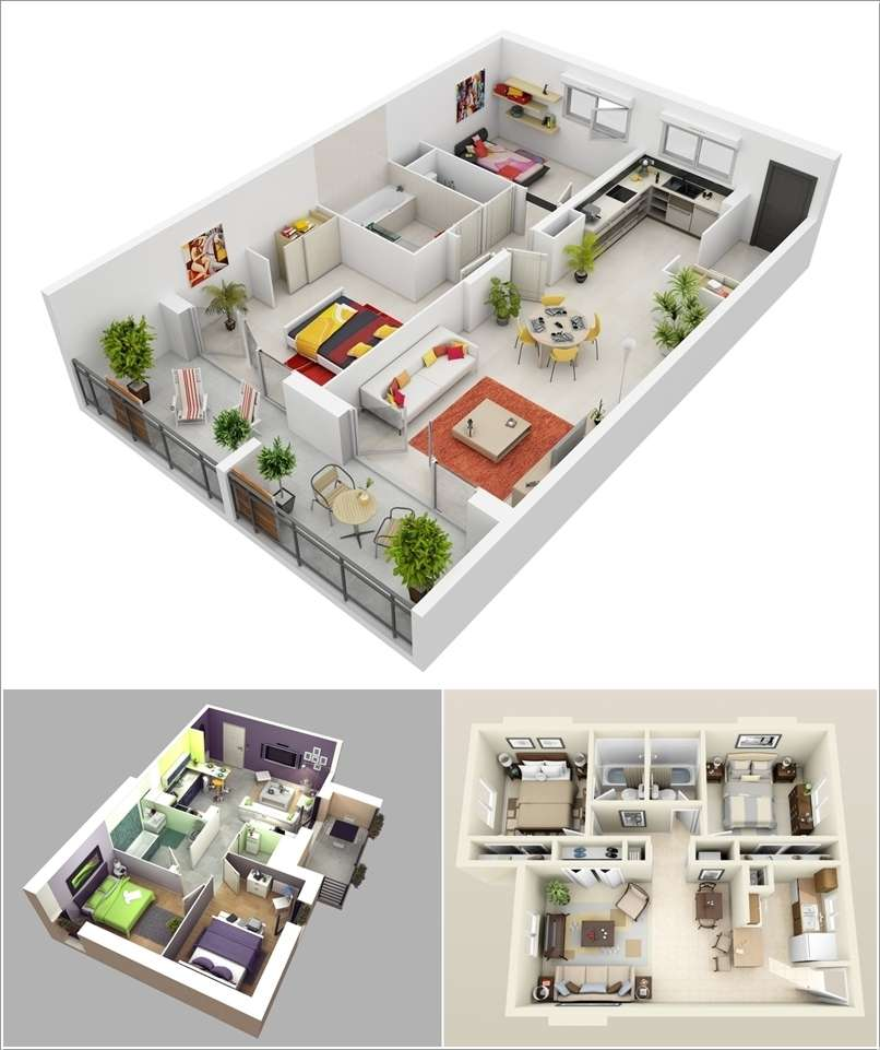 10 awesome two bedroom apartment 3d floor plans for Apartment design models