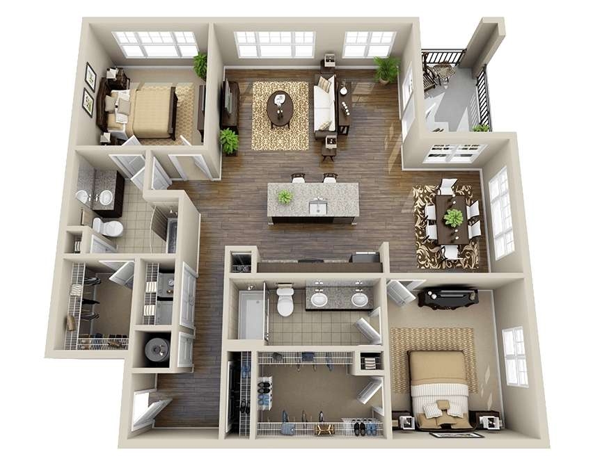 10 awesome two bedroom apartment 3d floor plans for Best interior designs for 3 bhk flats