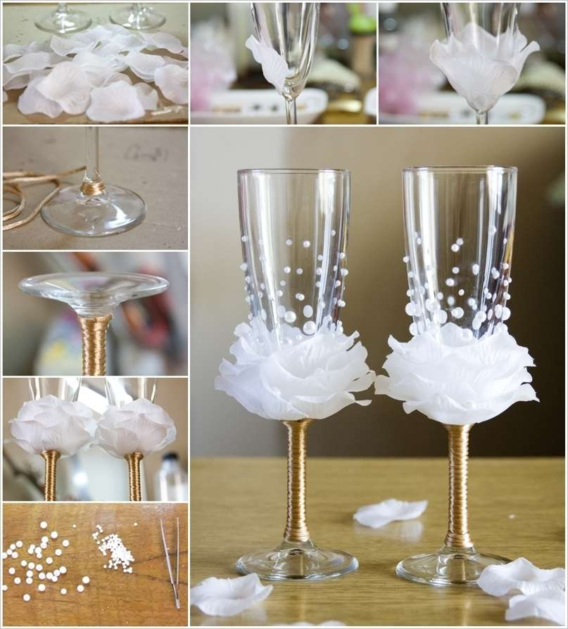 Wine Glass Design Ideas diy hand painted wine glasses with peacock feather design tutorial painted wine glasses Amazing Rose Wine Glass Decor Idea For Weddings