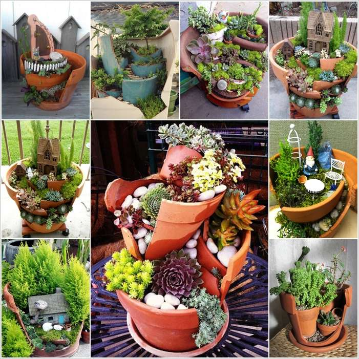 39 ideas to make mini gardens from broken flower pots for Garden pot ideas