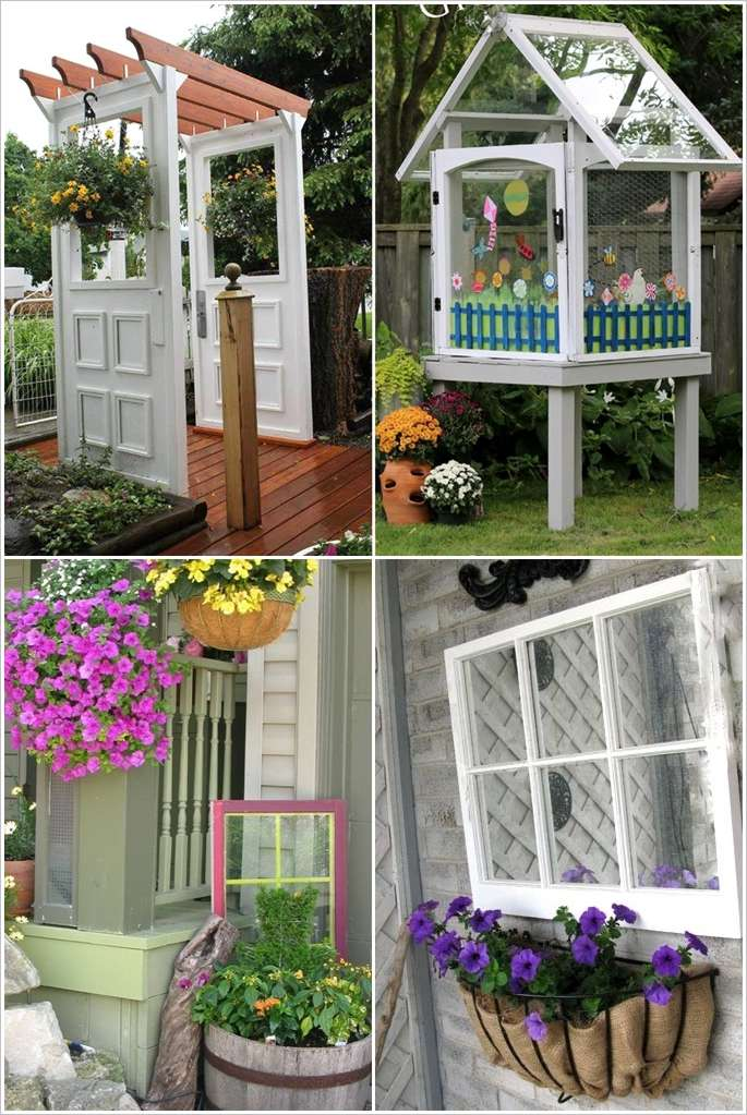 12 Ideas To Recycle Old Doors And Windows For Garden Decor