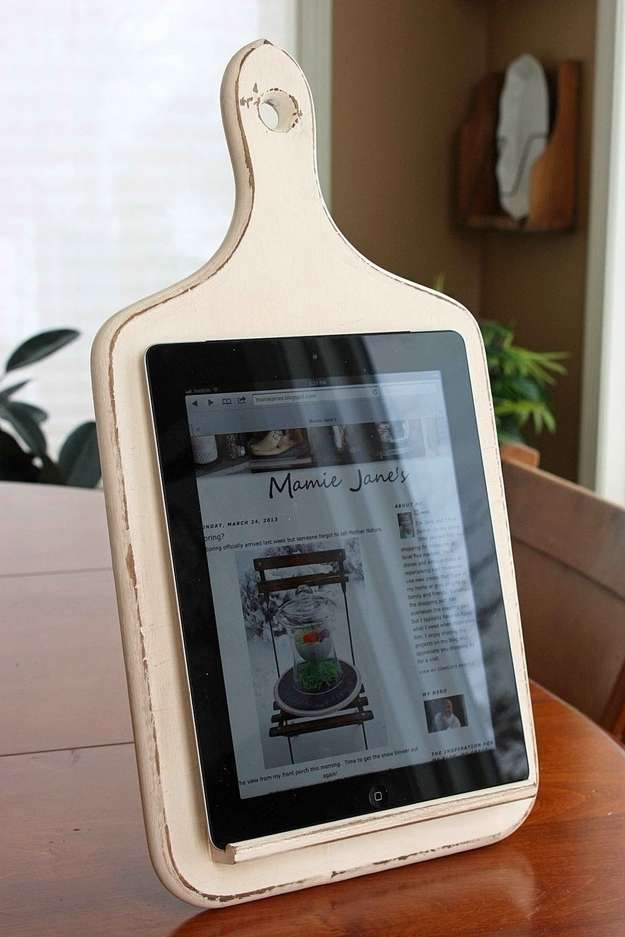 cutting board into a tablet holder