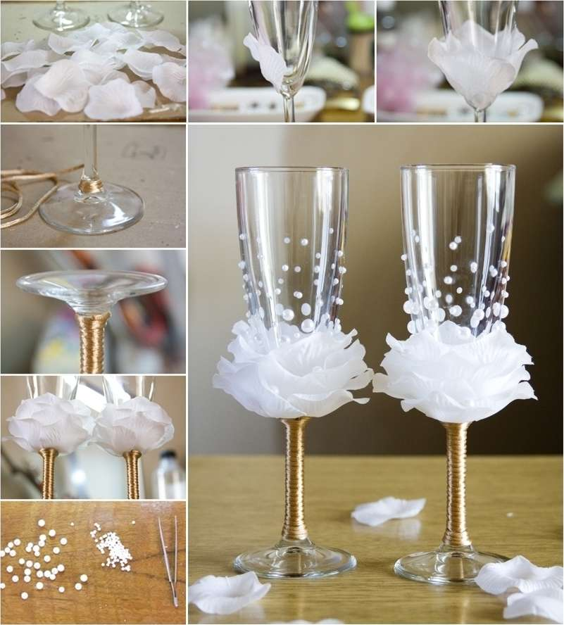 Amazing rose wine glass decor idea for weddings