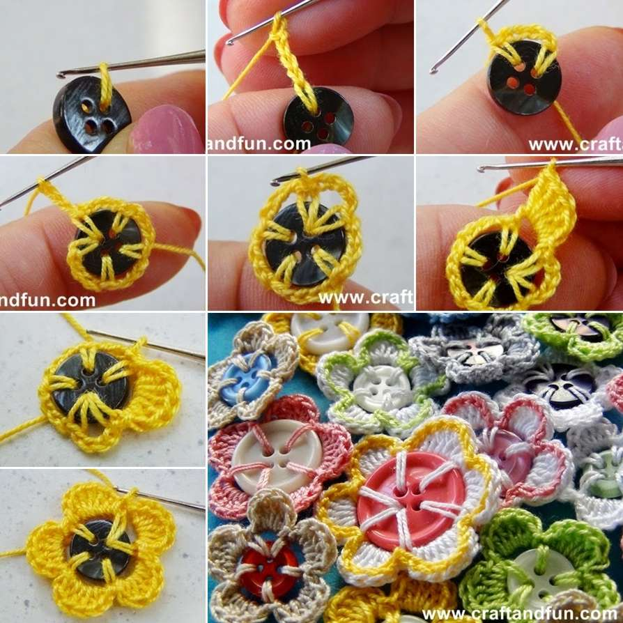 How About Trying These Cute Button Crochet Flowers?