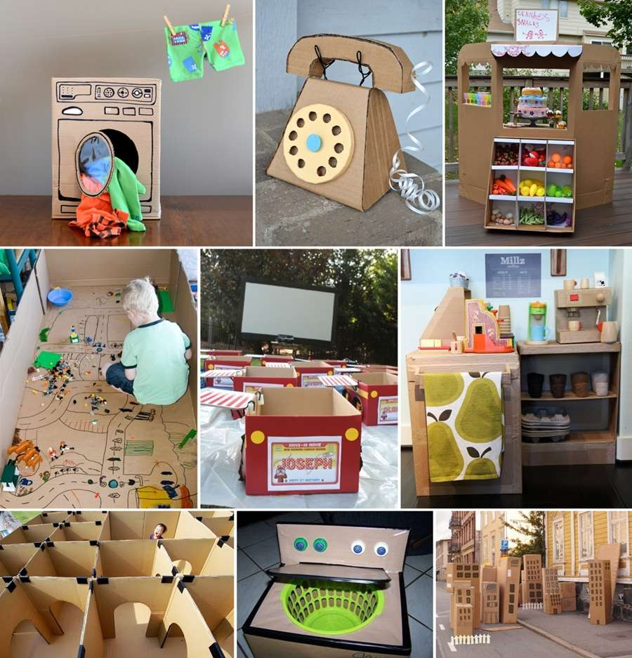 31 fun things to create with a cardboard box for kids for Things you can make out of a cardboard box