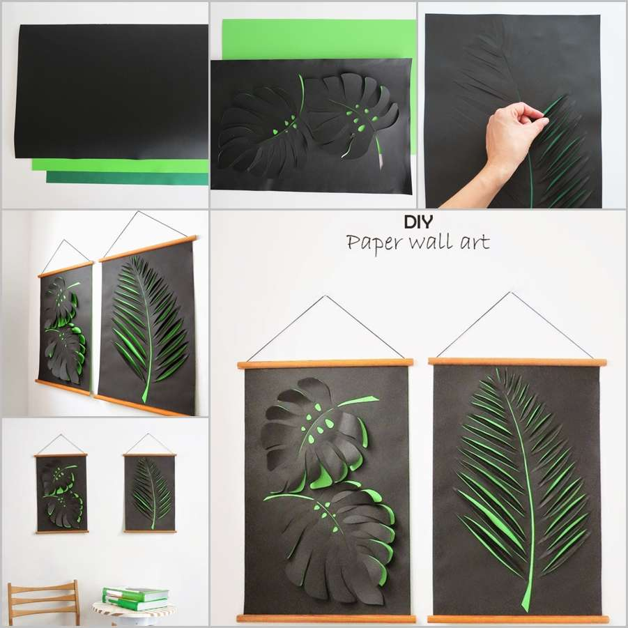 Wall Designs With Craft Paper : Craft this cool leaf paper wall art for your home