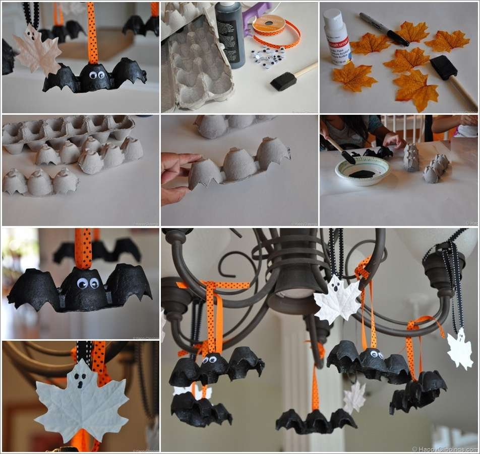 Egg carton bats and leaf ghosts tutorial for halloween - Decoration halloween fait maison ...