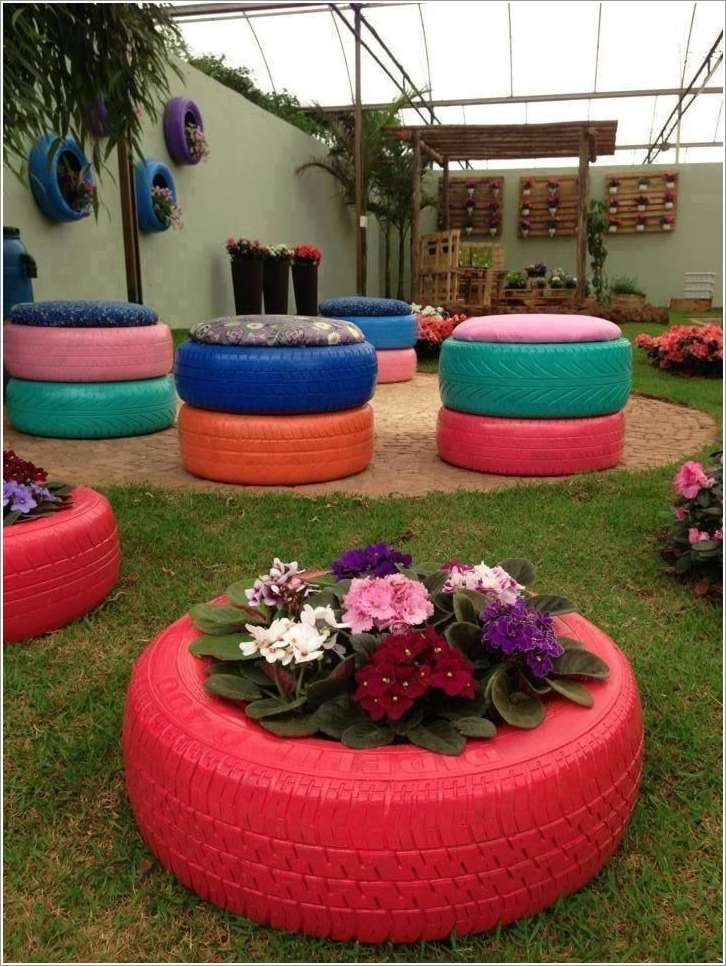 15 creative recycled planter ideas for your garden for Pneu use exterieur