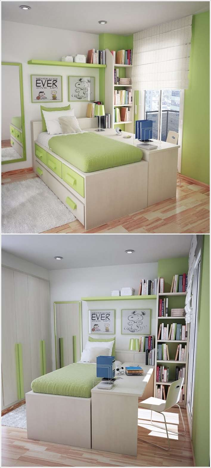 10 clever solutions for small space teen bedrooms for Small teenage bedrooms