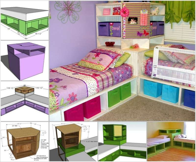 15 diy kids bed designs that will turn bedtime into fun time - Space saving ideas for small kids bedrooms plan ...