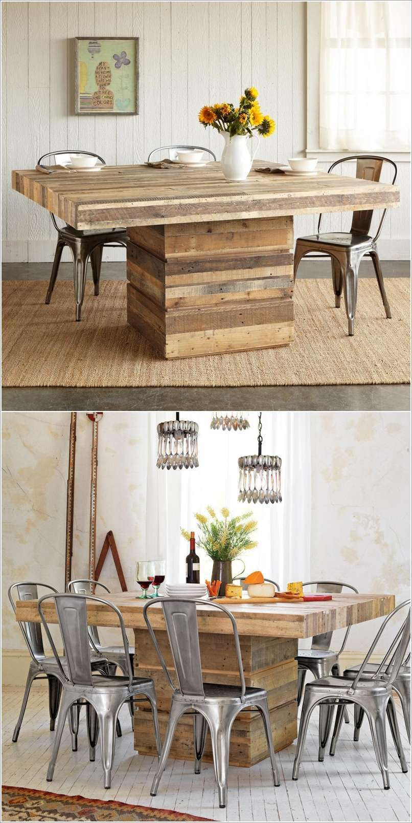 10 spectacular diy dining table ideas for your home - Table salle a manger palette ...