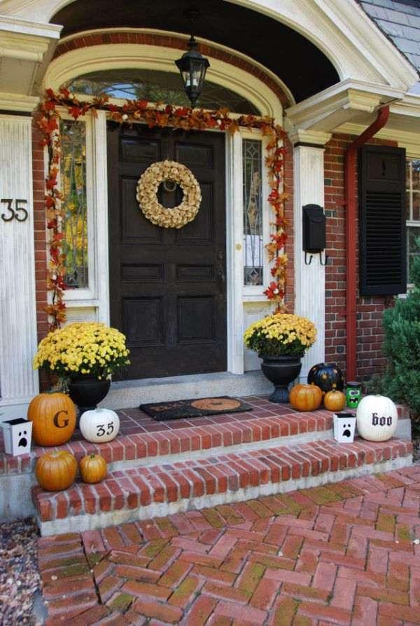Fall Halloween Front Door