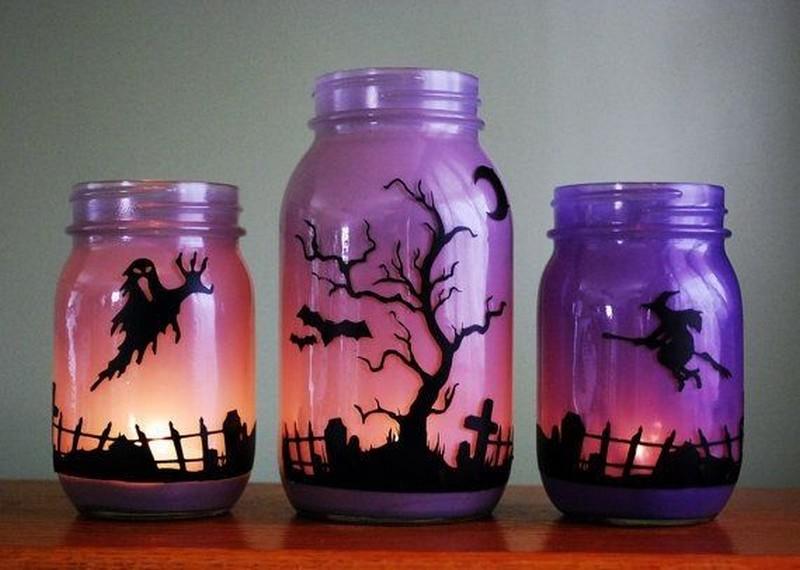 Mod Podge  Halloween  Masson Jars