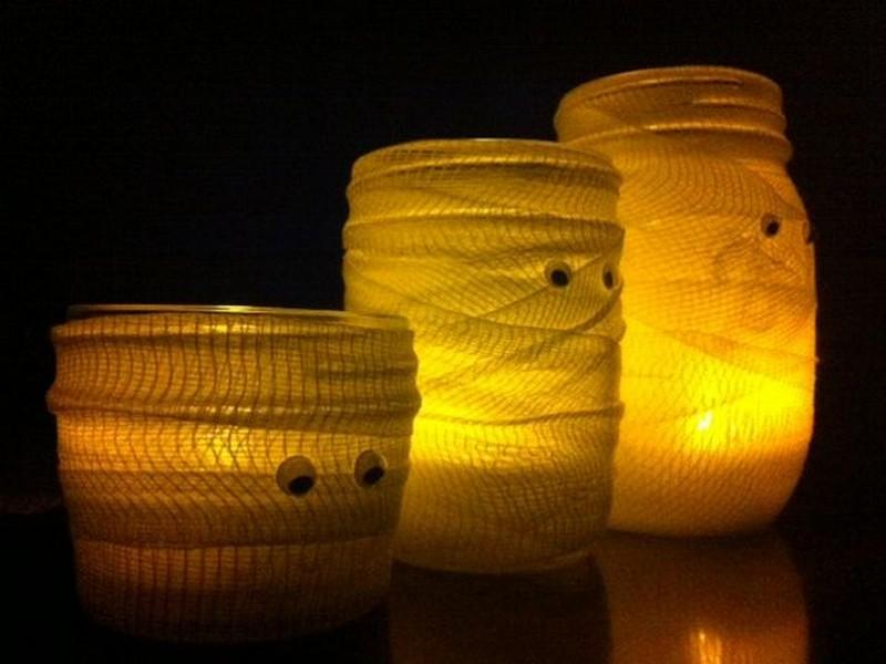 Mummy Halloween Mason Jars