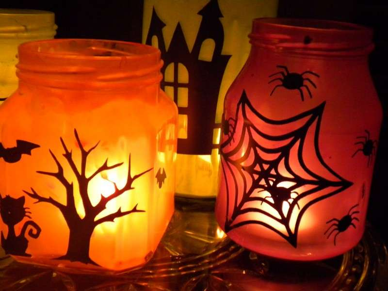 Painted Halloween Mason Jars