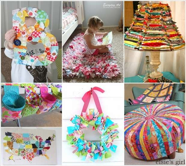 15 creative ideas to recycle fabric scraps for home decor for Waste material things for decoration