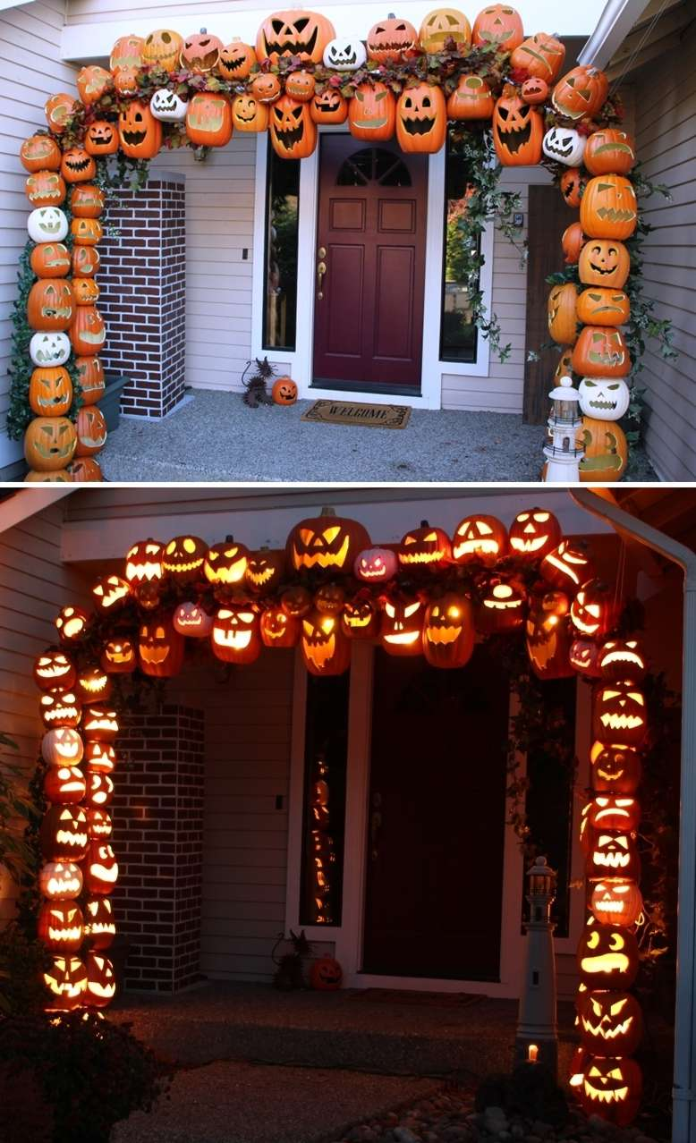 Make A Jack O Lantern Arch At Front Entrance This Halloween