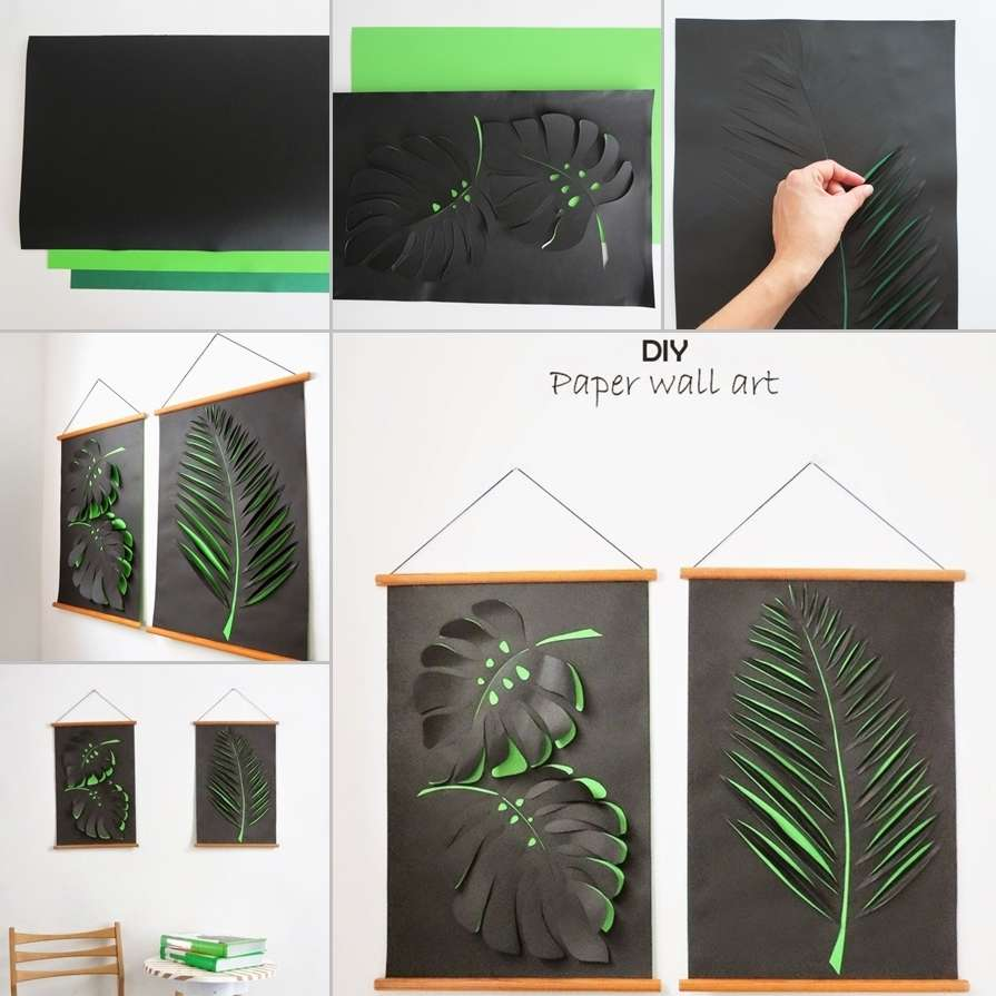 Ultra Cool Fun Creative Interior Design: Craft This Cool Leaf Paper Wall Art For Your Home