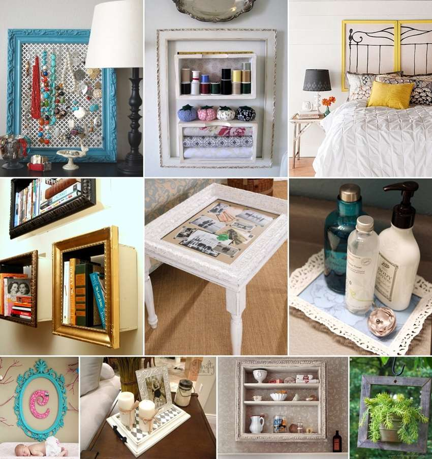 50 ideas to recycle old picture frames for home decor With interior decor recycling
