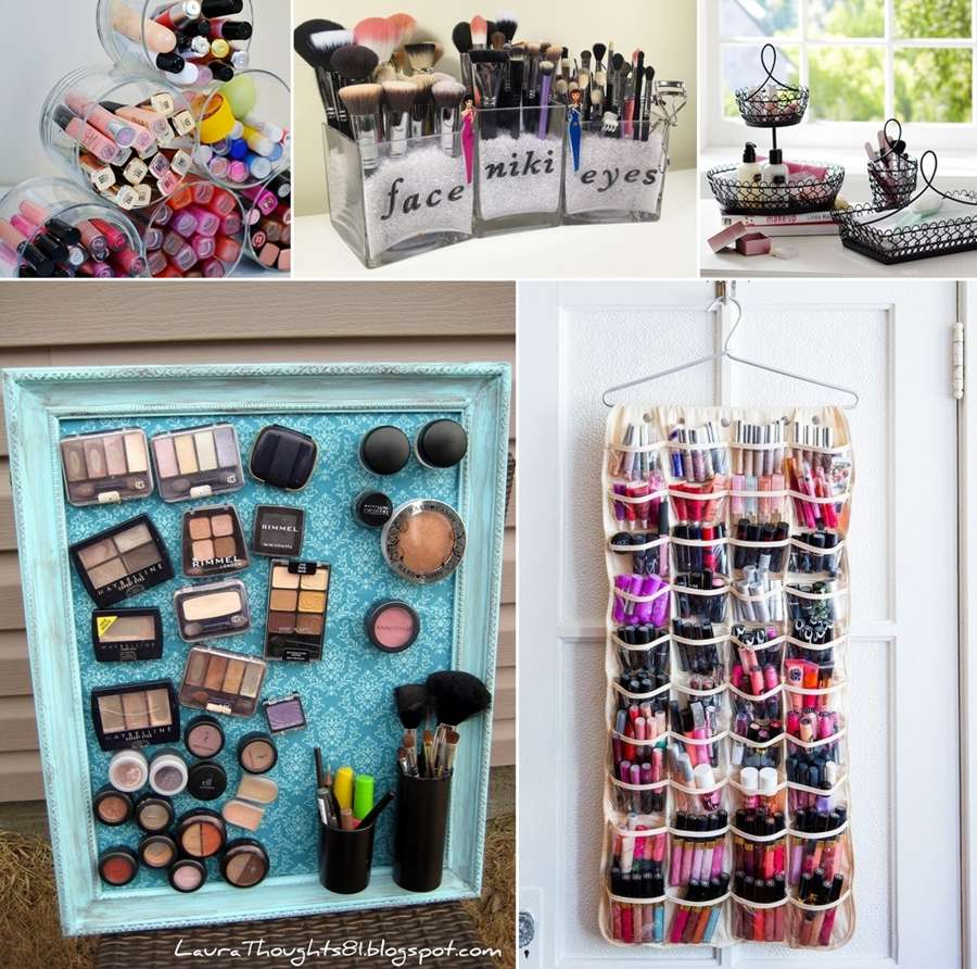 12 cool ideas to store and organize your makeup. Black Bedroom Furniture Sets. Home Design Ideas