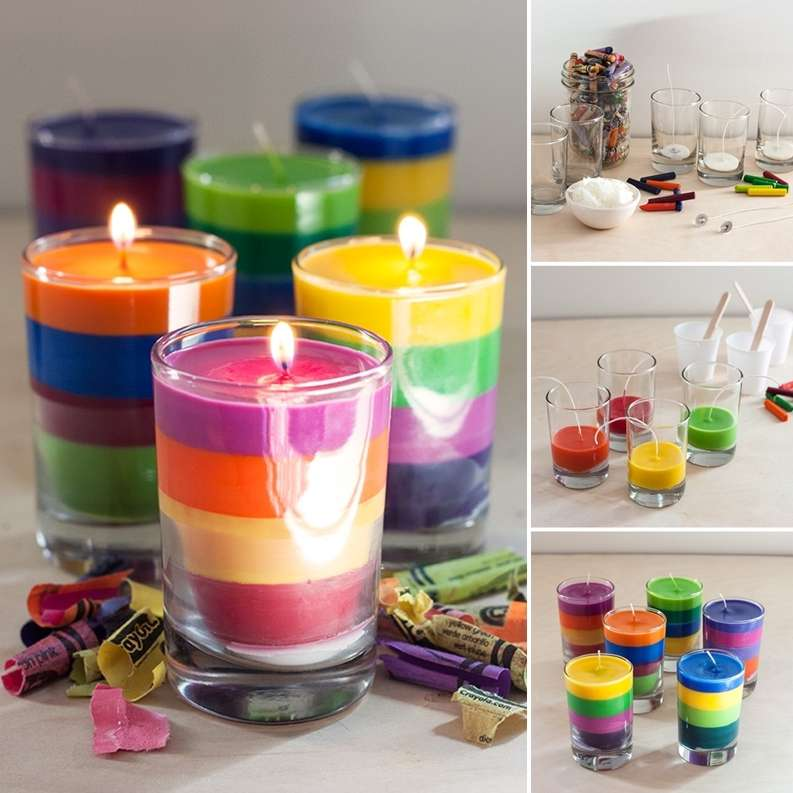 Re-Purpose Old Crayons Into These Vibrant Layered Candles