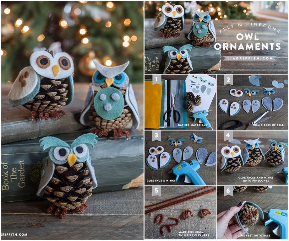 These felt and pine cone owl ornaments are just superb - Decoracion con buhos ...