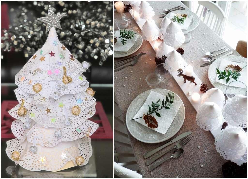 カレンダー クリスマスアドベントカレンダー作り方 : Paper Doily Christmas Trees