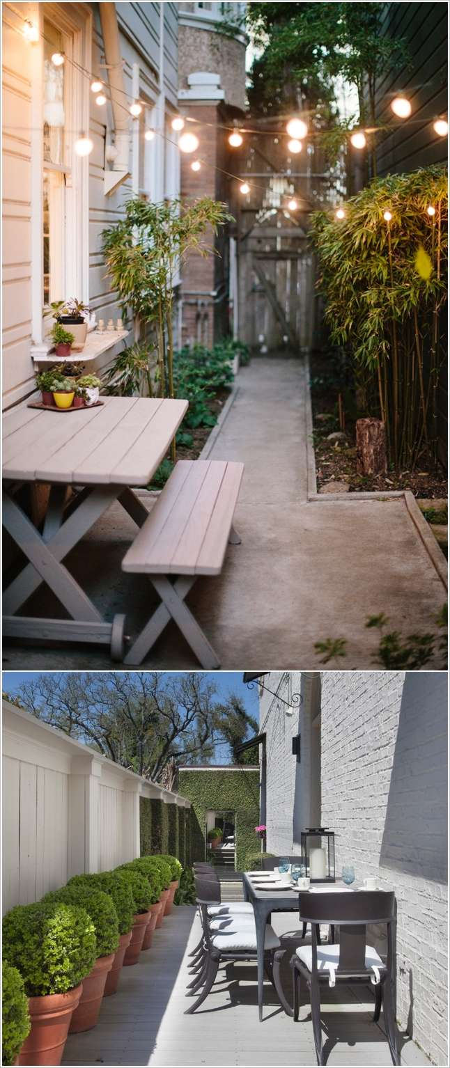 10 awesome ideas to design long and narrow outdoor spaces for Decorating small patio spaces