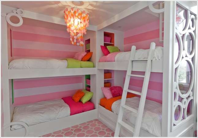 7 Corner Bunk Beds With Colorful Storage