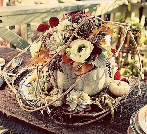 A pumpkin floral centerpiece