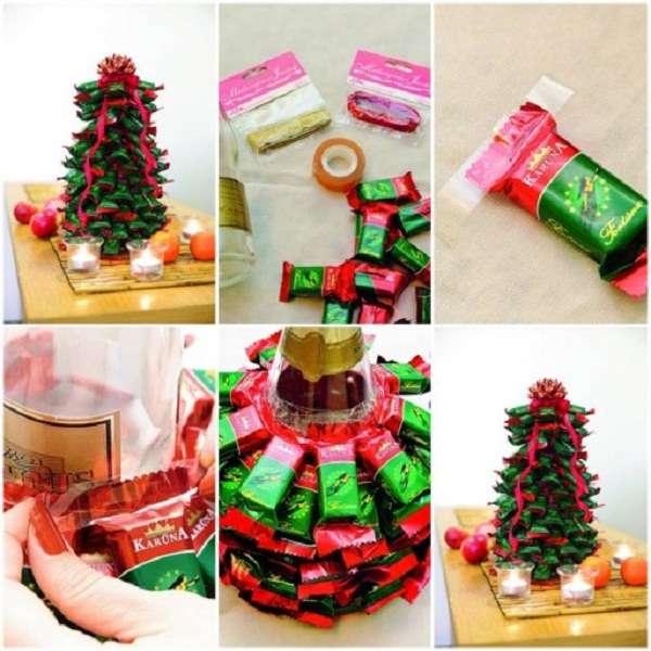 Make a Christmas tree from chocolate bars