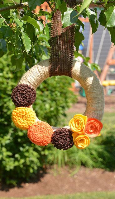 Thanksgiving Fall Yarn Wreath